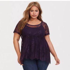 Torrid Size 1 Dark Purple Lace Babydoll